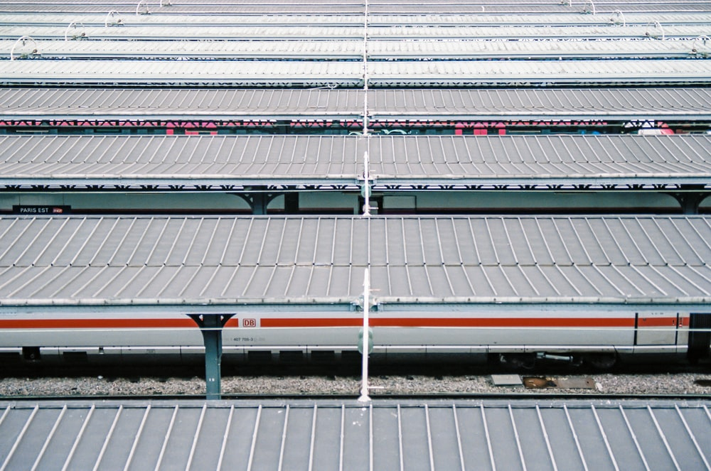 gray and black metal train rail