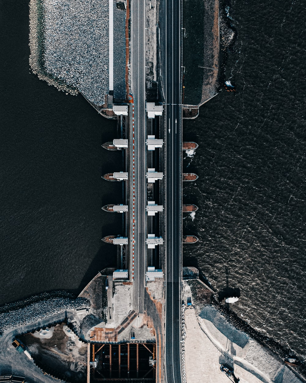 aerial view of white bridge