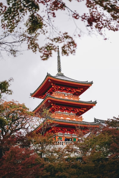 red and brown temple under white sky
