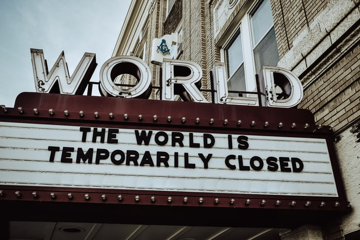 Theatre sign saying the world is temporarily closed