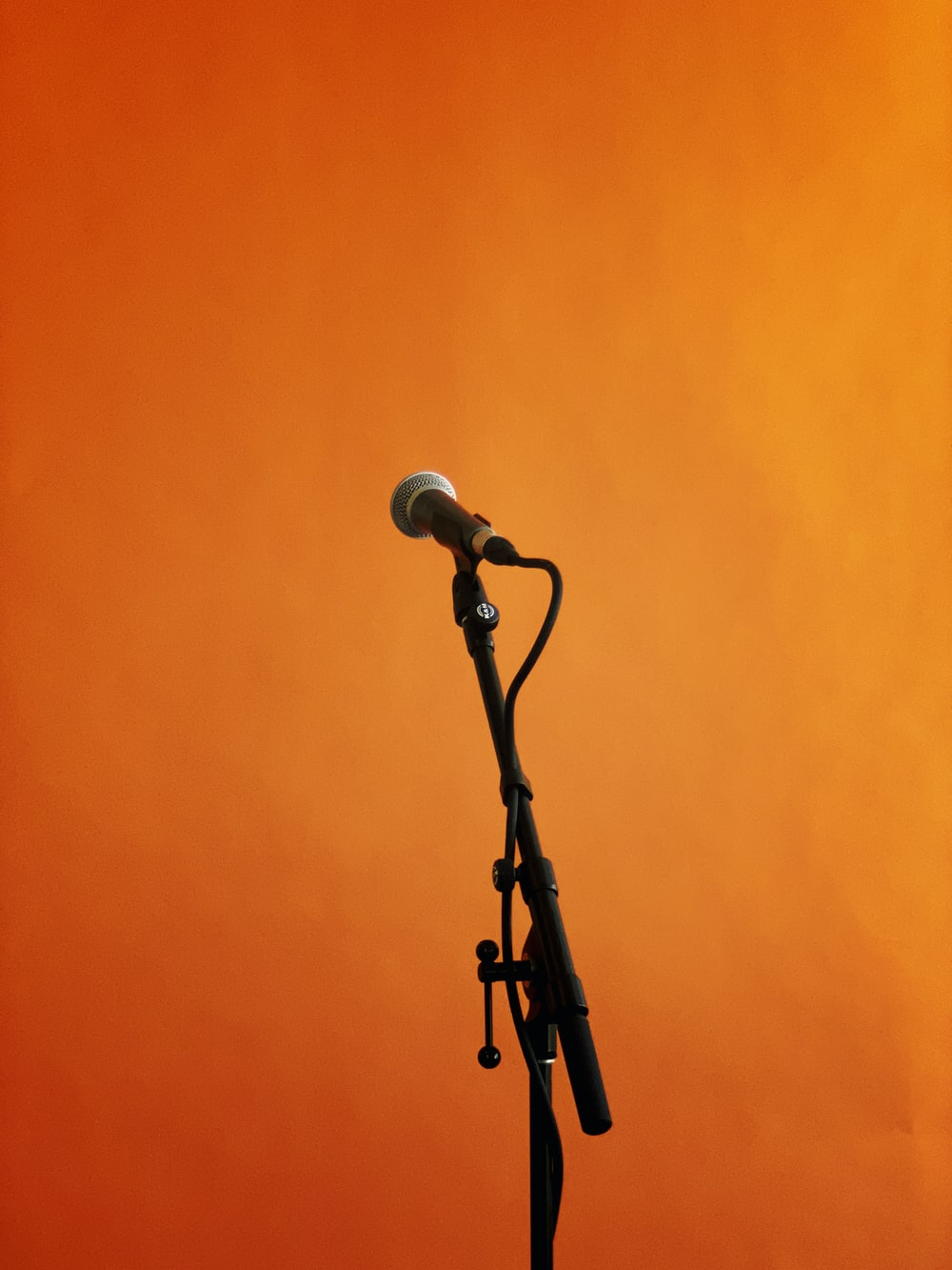 black and gray microphone with stand