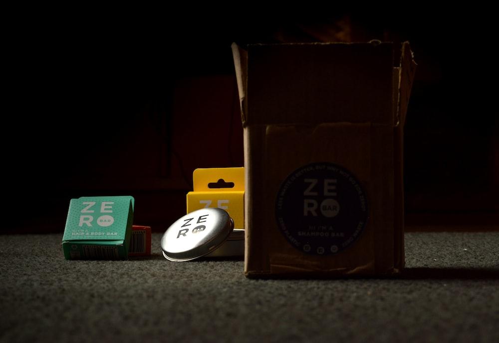 brown and green carton box