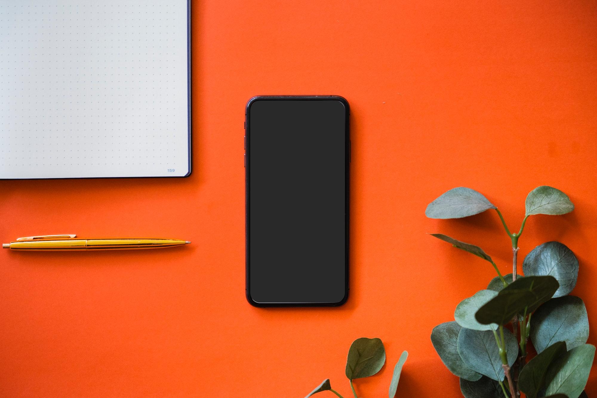 iPhone on orange