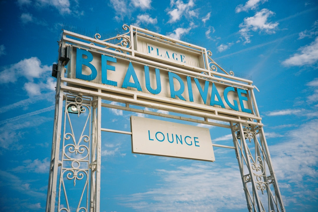 The entrance to the Place Beau Rivage Lounge on the Promenade des Anglais in Nice, France. Shot on film.