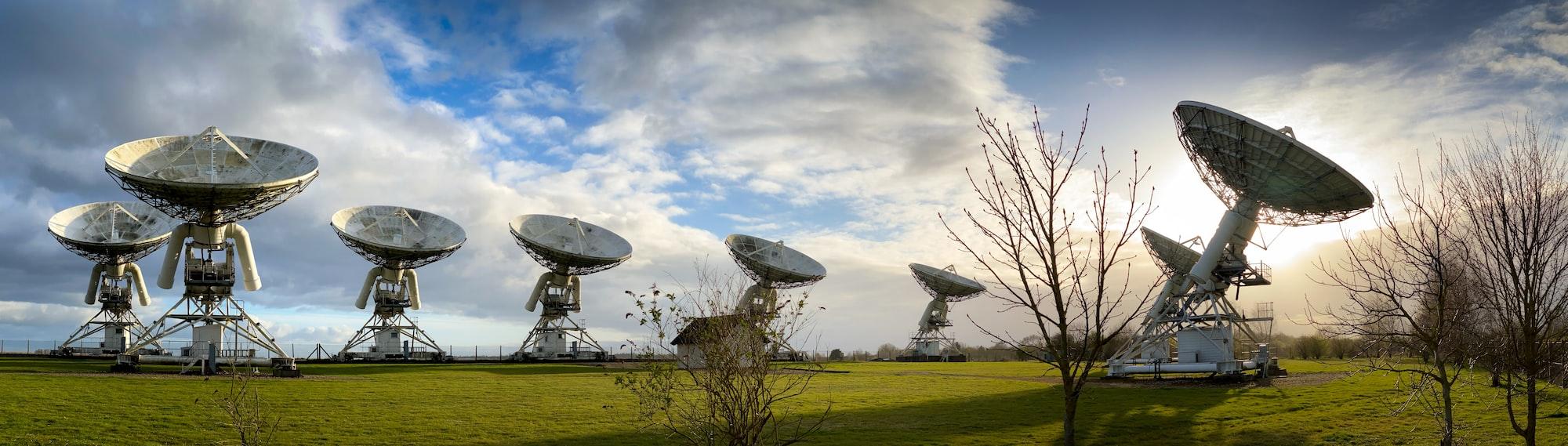 Radio telescopes at the Mullard Radio Observatory just outside Cambridge