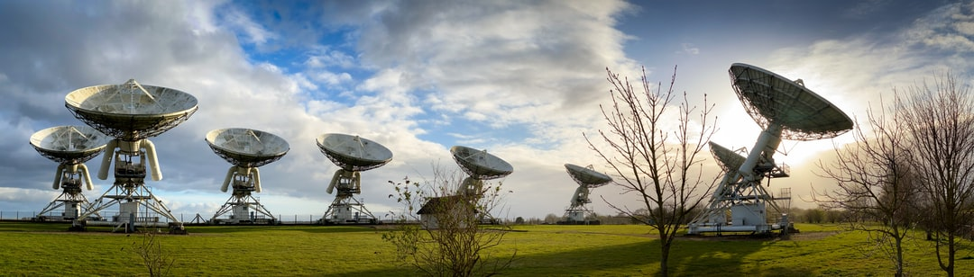 Radio telescopes at the Mullard Radio Observatory just outside Cambridge