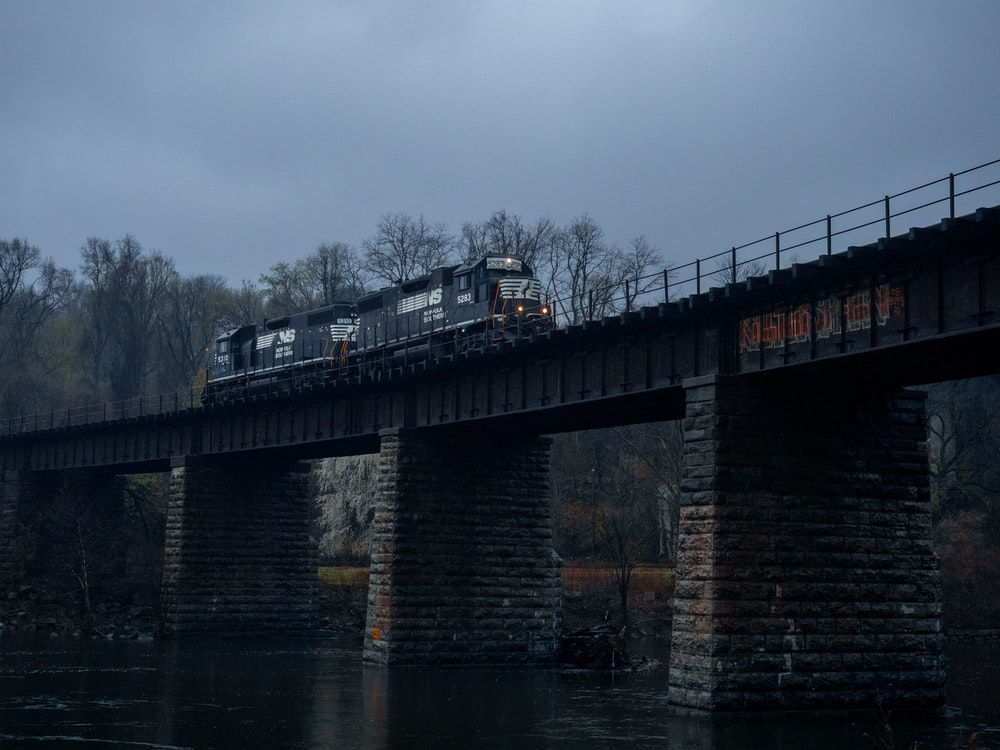 brown and black bridge over water