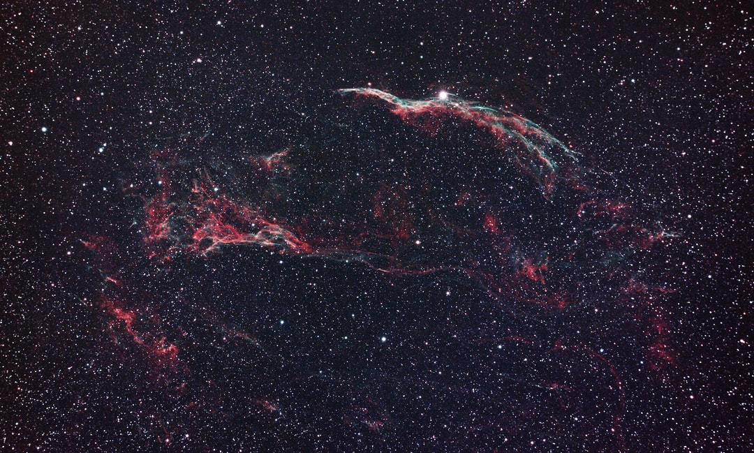 """Into """"The Veil"""" supernova remnant - the western Veil Nebula complex with the Witch's Broom and star 52 Cygni at the top and Pickering's triangle left of center. The intricate filament structures are amazing. Zoom in to see detail."""