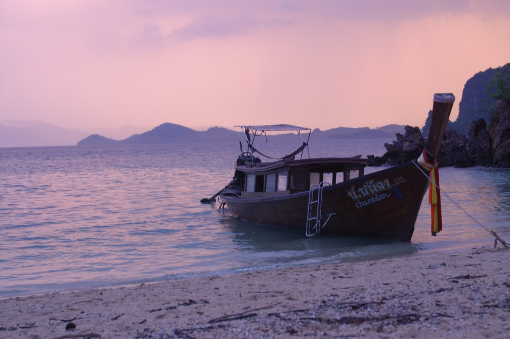 brown and black boat on sea shore during daytime
