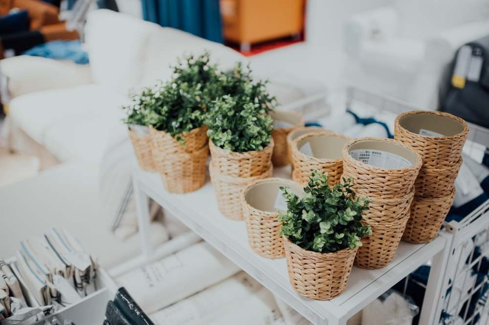 Use baskets to add visual interest in your fall home decorating.