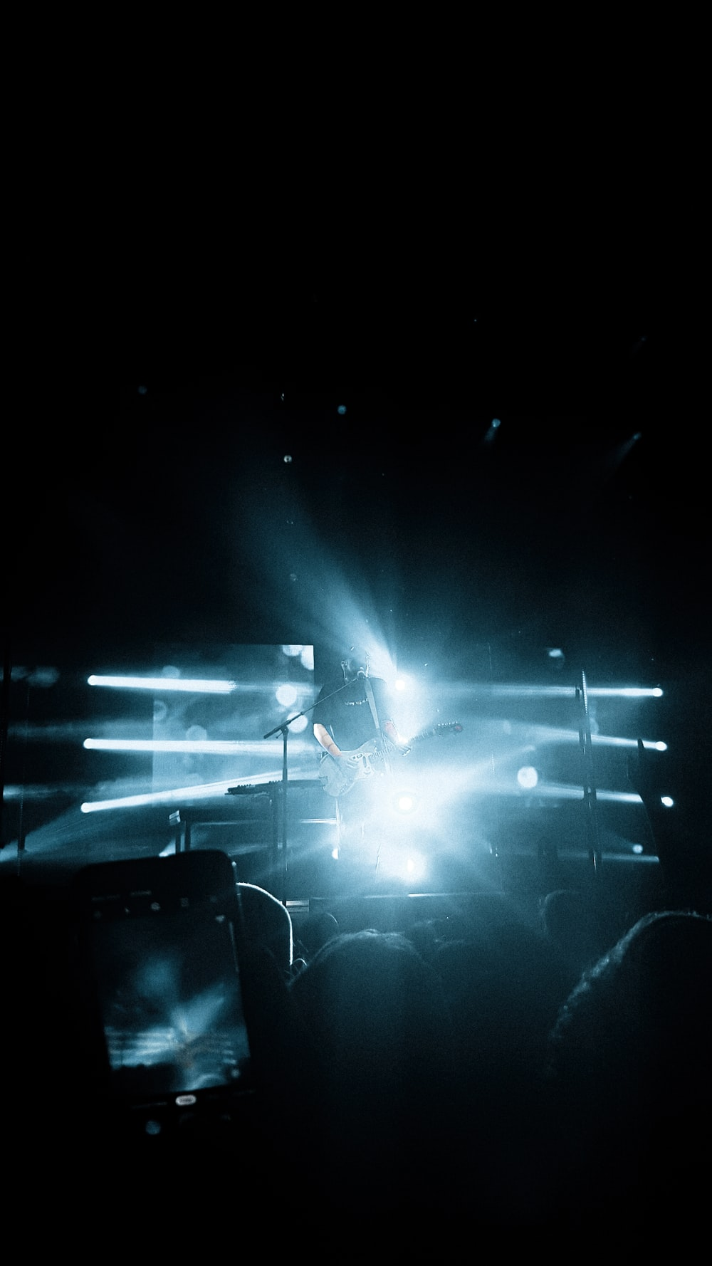 black and white stage light