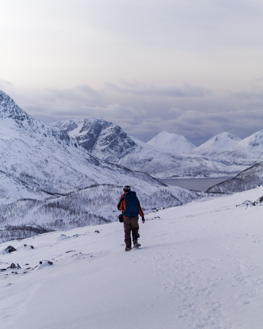 a man hiking with snowshoes in an arctic landscape