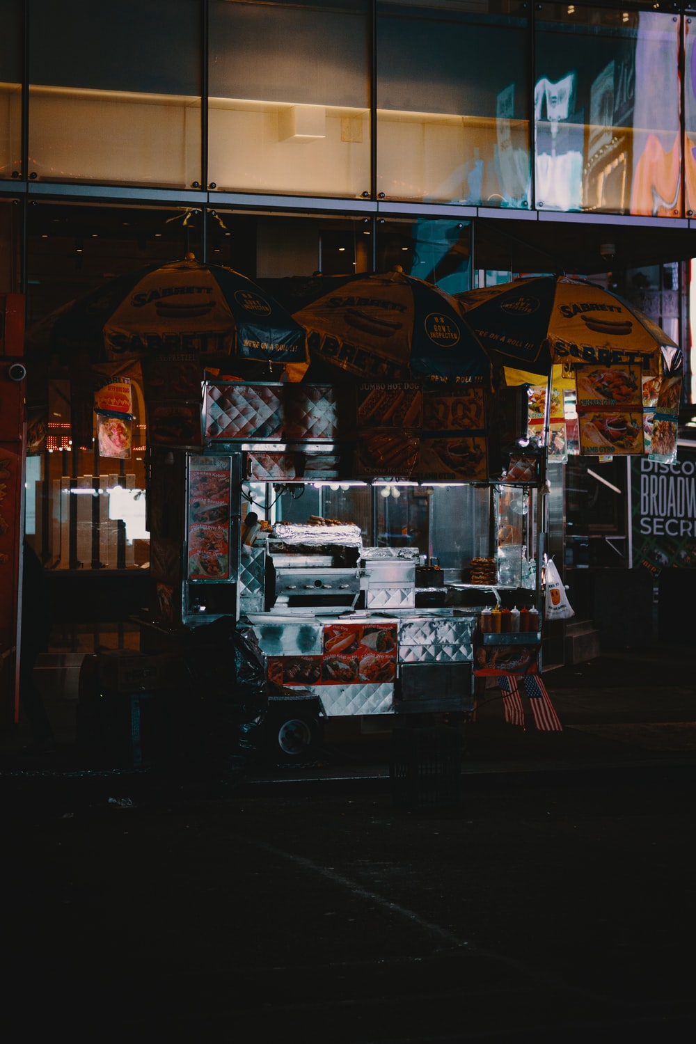 white and red food stall