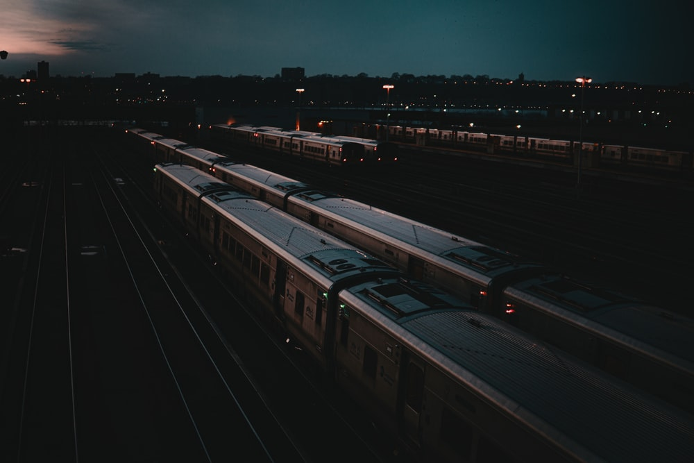 white and black train during night time