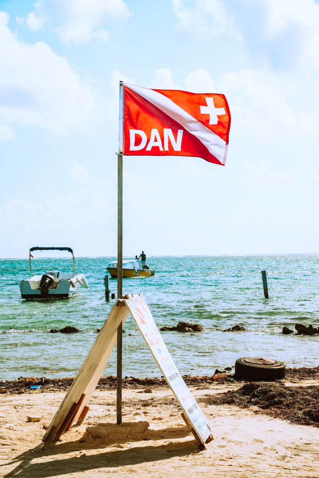 DAN (Divers Alert Network) flag at a local scuba dive shop.