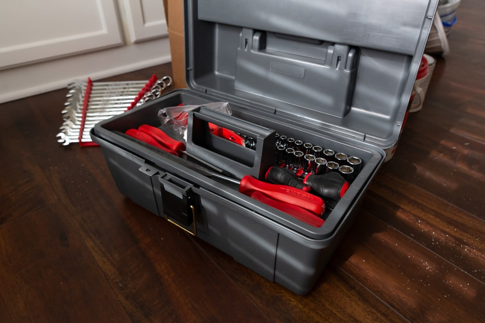 black and red tool box