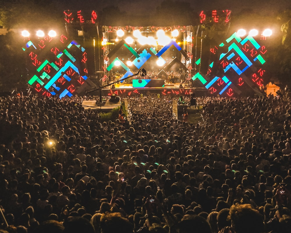crowd of people watching concert during night time