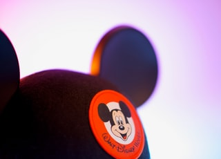 black and orange mickey mouse cap