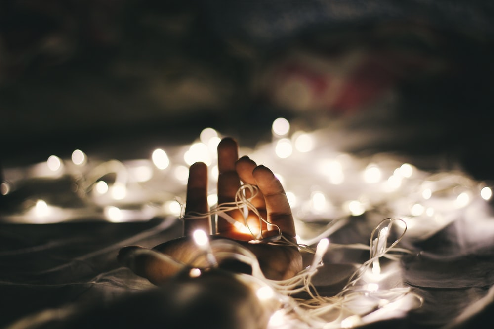 person holding white string lights