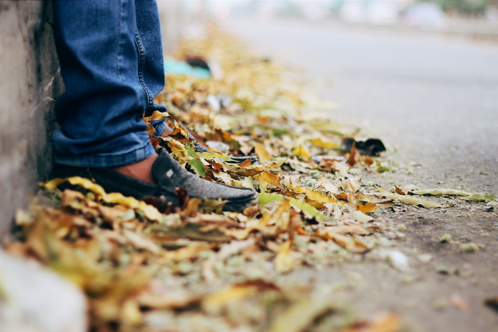 person in blue denim jeans and brown leather boots standing on brown dried leaves on the near on on on