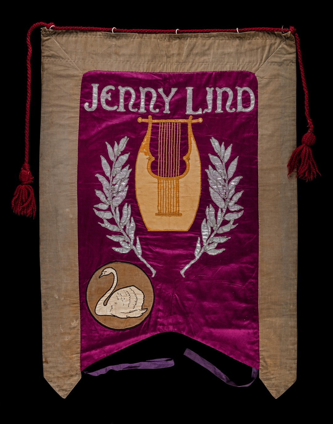 Suffrage banner, Jenny Lind, designed by Artists' Suffrage League for NUWSS march on 13 June 1908. TWL.1998.08