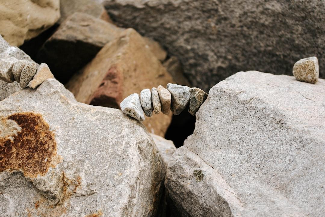 A rock sculpture bridge.