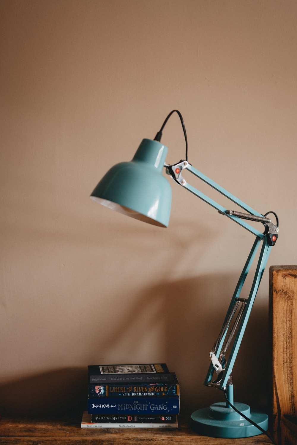 silver and white desk lamp