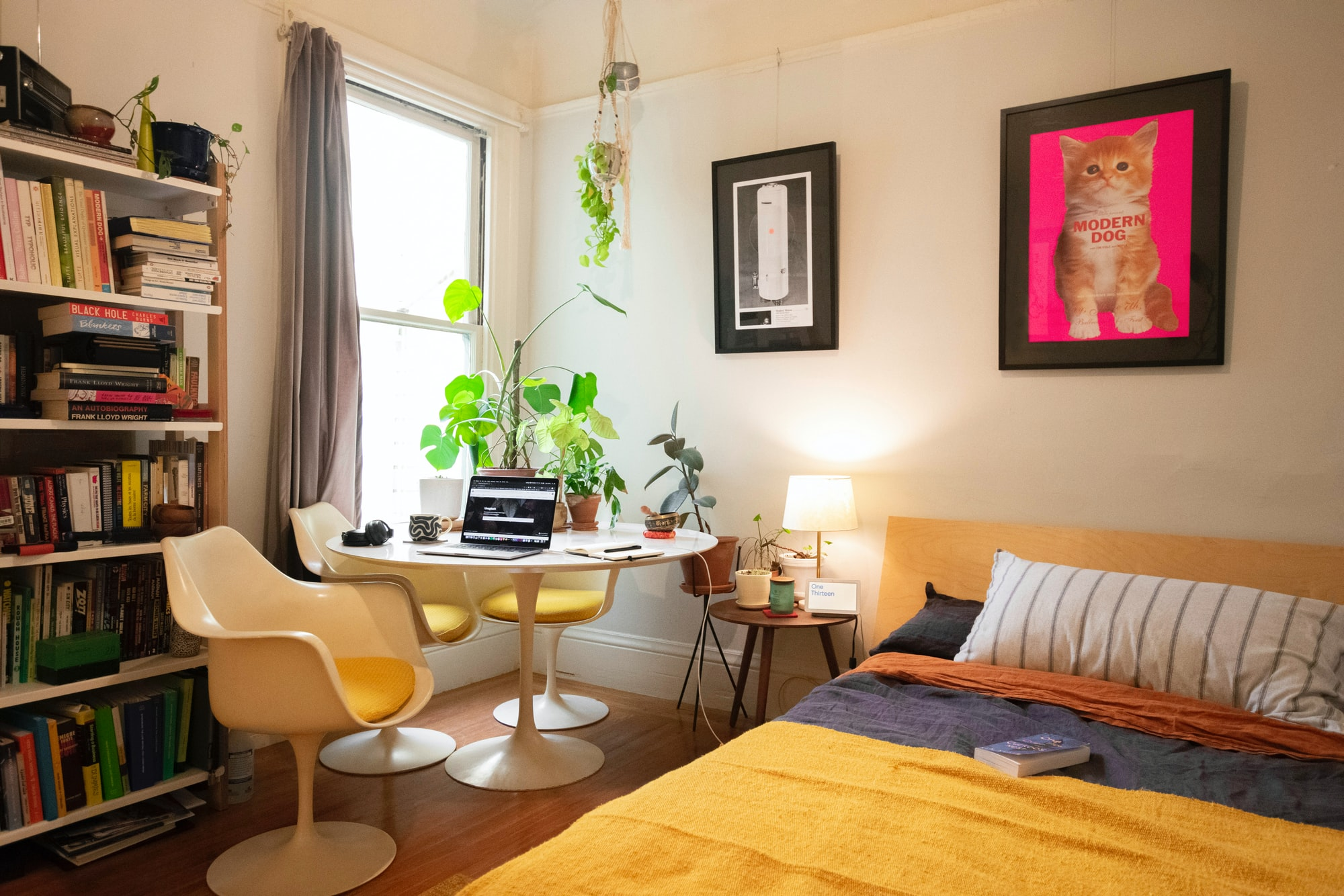 Working from home office in a bedroom