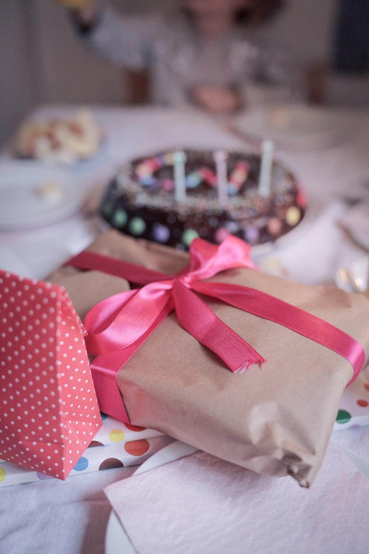 red and white polka dot gift box