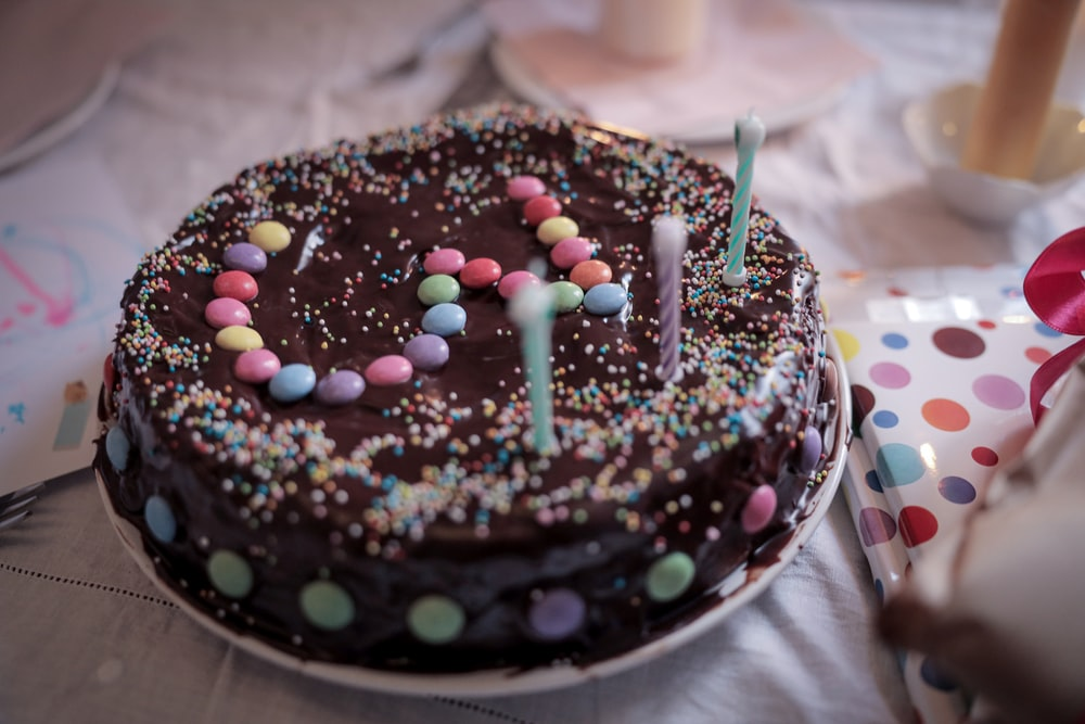 chocolate cake with sprinkles on top