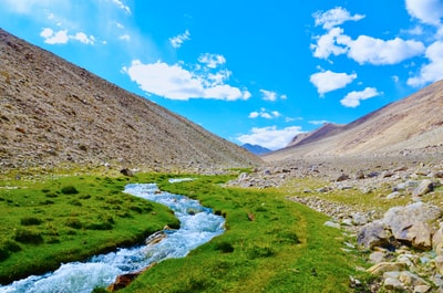 river in between brown mountains under blue sky during daytime tajikistan zoom background