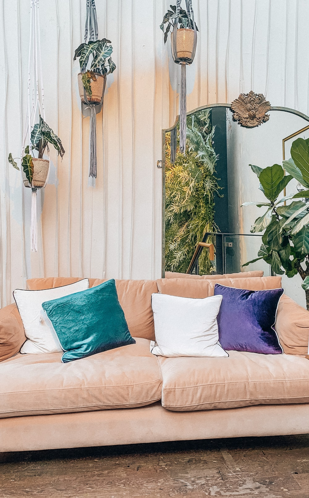 blue throw pillows on white couch
