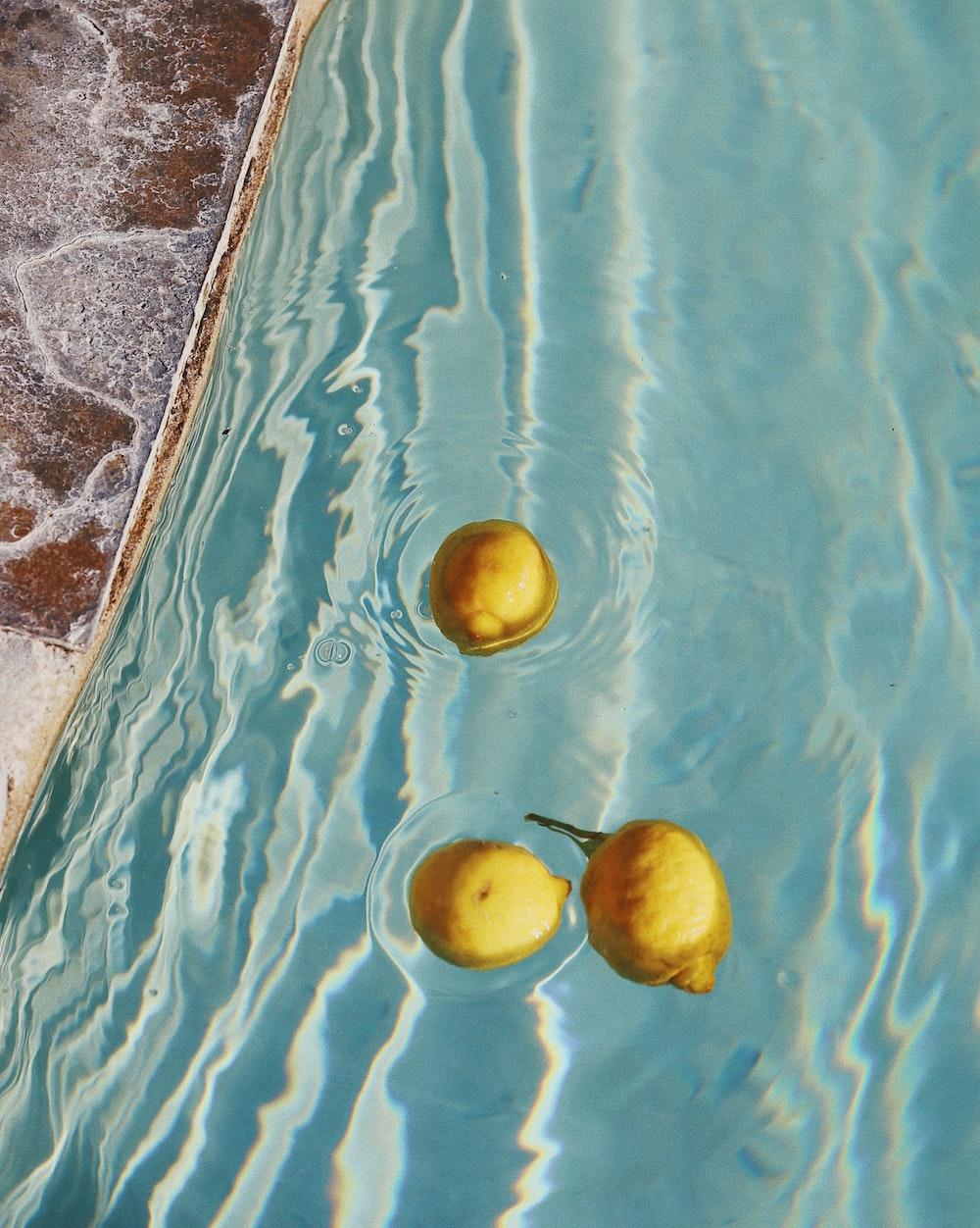 yellow lemon on water during daytime