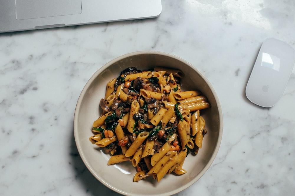 pasta dish on white ceramic bowl