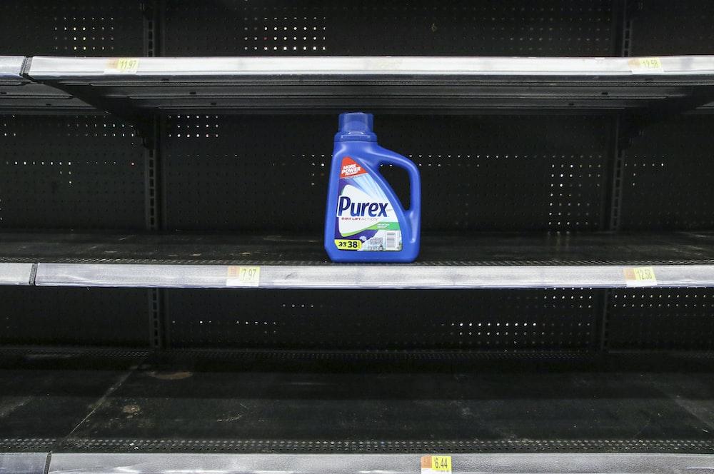 blue and white plastic bottle