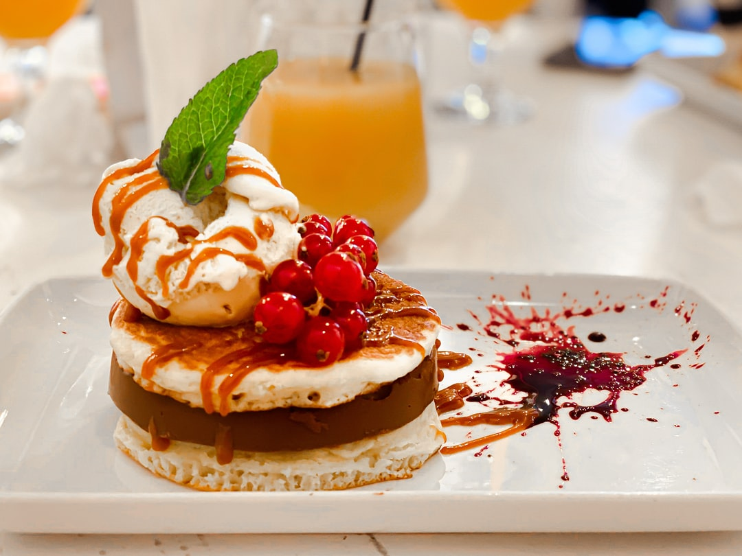 Yummy pancakes desert with Ice cream