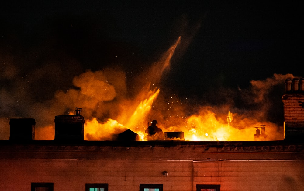fire coming from a building