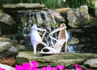 white and pink peep toe heeled sandals