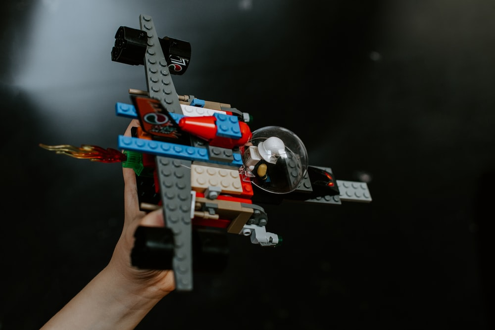 red and blue lego toy