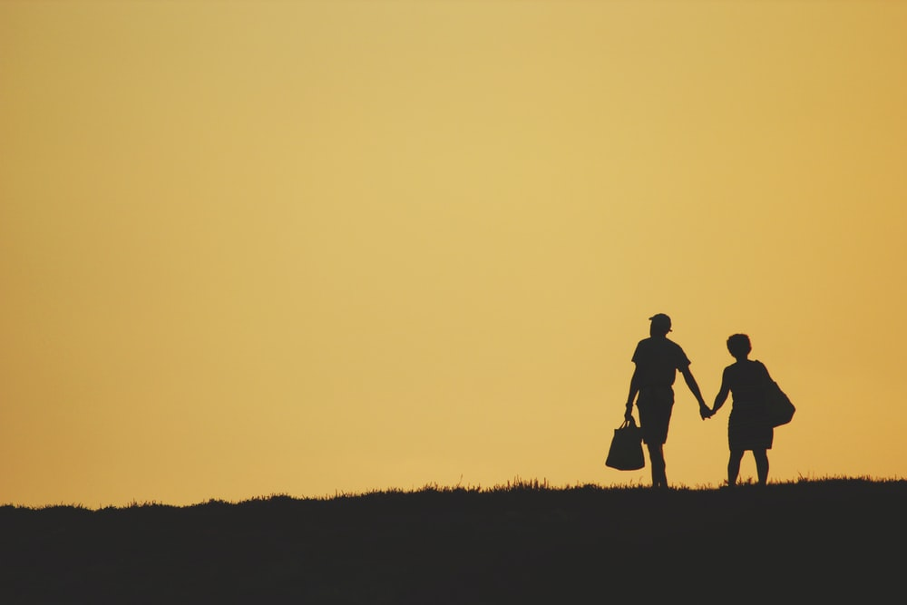 silhouette of 2 person walking on grass field during sunset