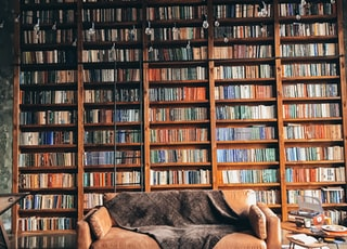 brown wooden book shelves with books