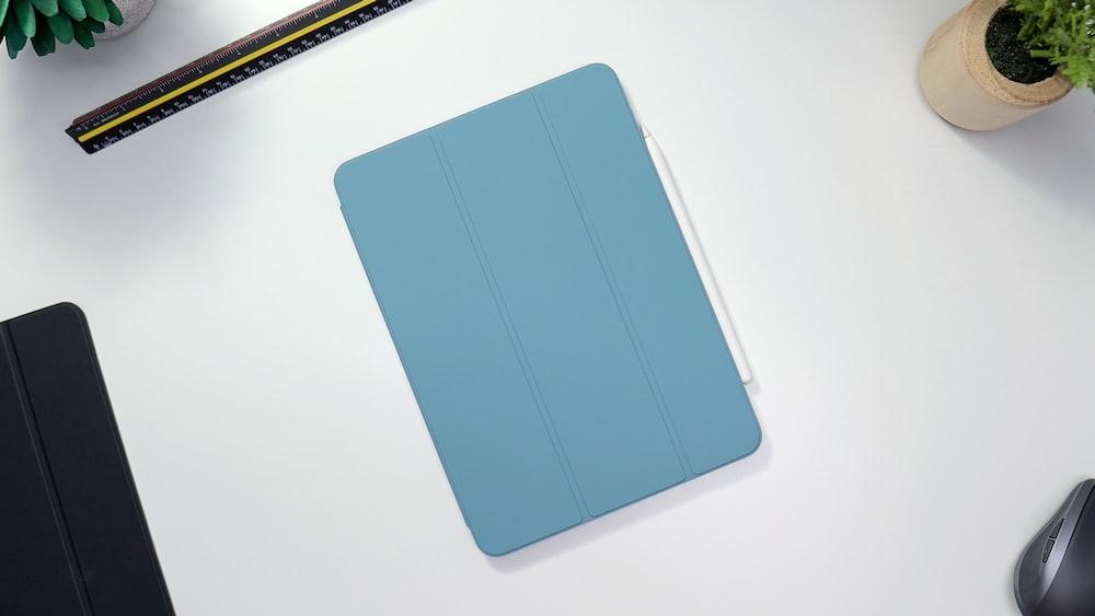 blue smart case on white table