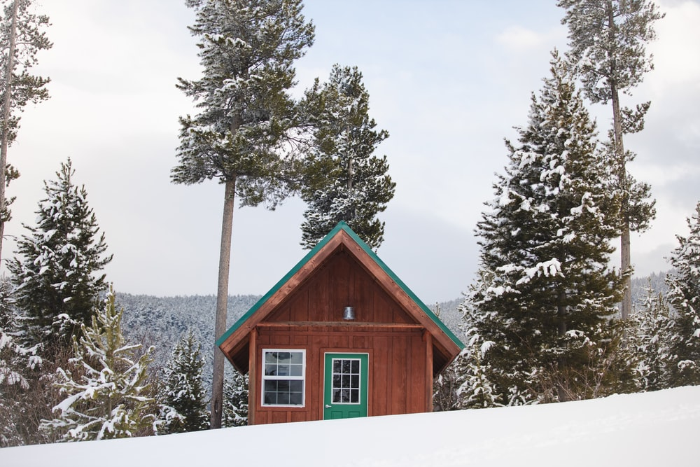 brown wooden house on snow covered ground near green trees during daytime