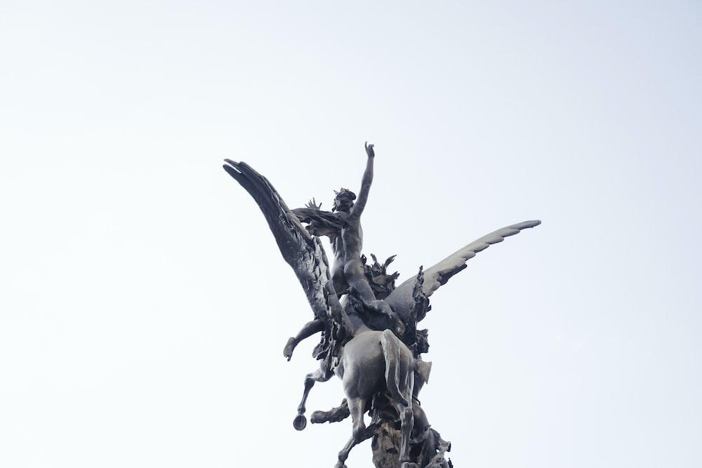 black and white dragon statue