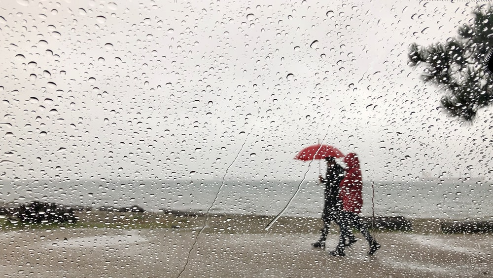 person in black jacket holding red umbrella walking on wet sand during daytime
