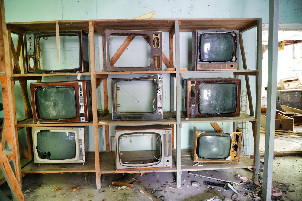 brown and black vintage tv