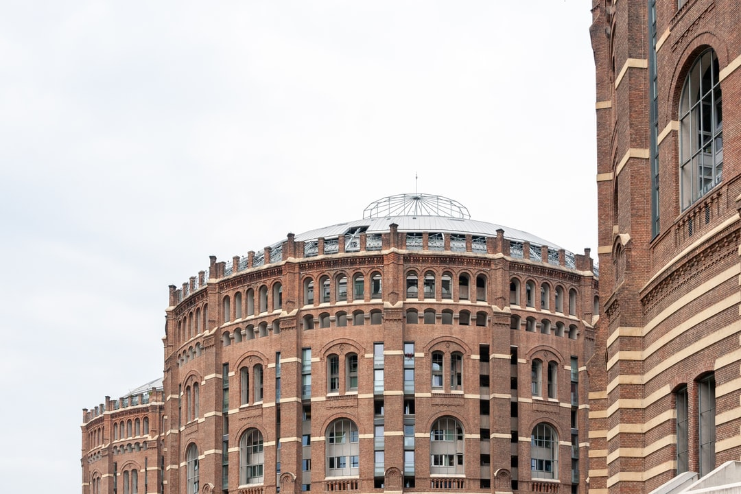 """Gasometer"" buildings in Vienna, Austria."