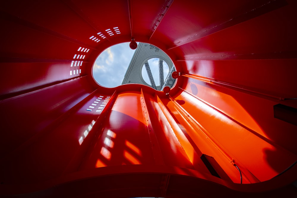 red and white ceiling lamp
