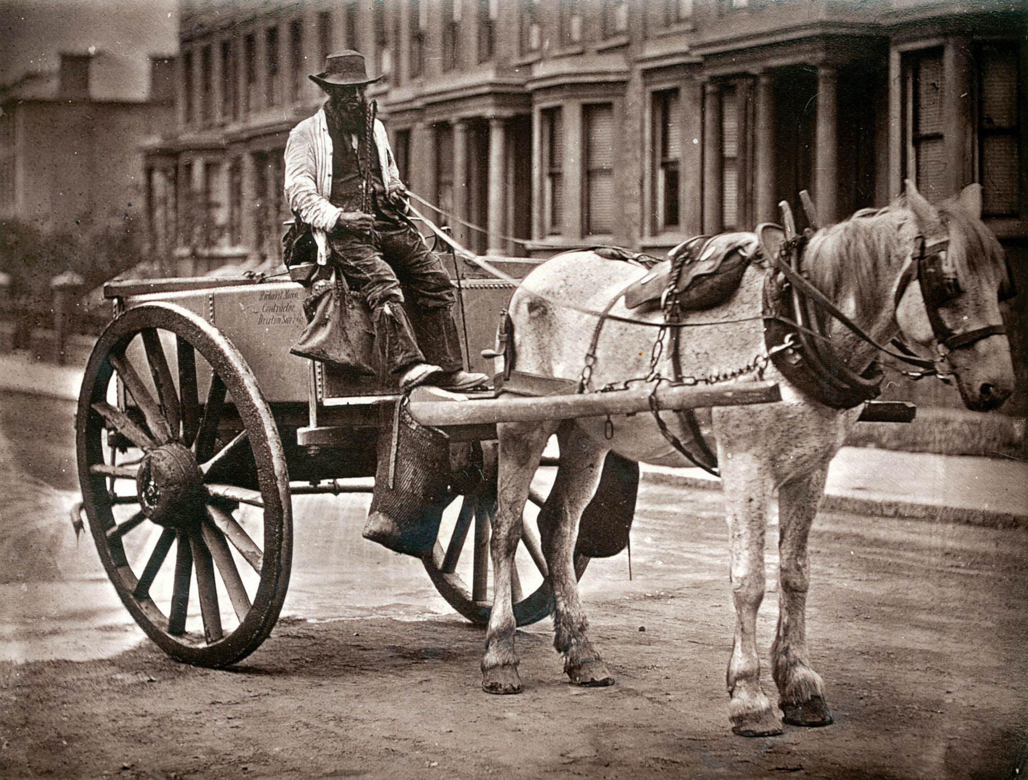 The Water-Cart. From 'Street Life in London', 1877, by John Thomson and Adolphe Smith.