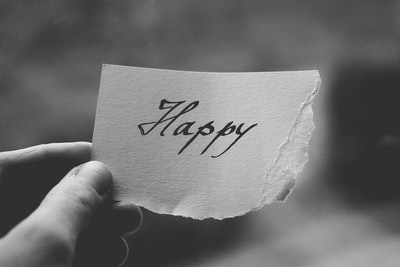 grayscale photo of happy birthday card